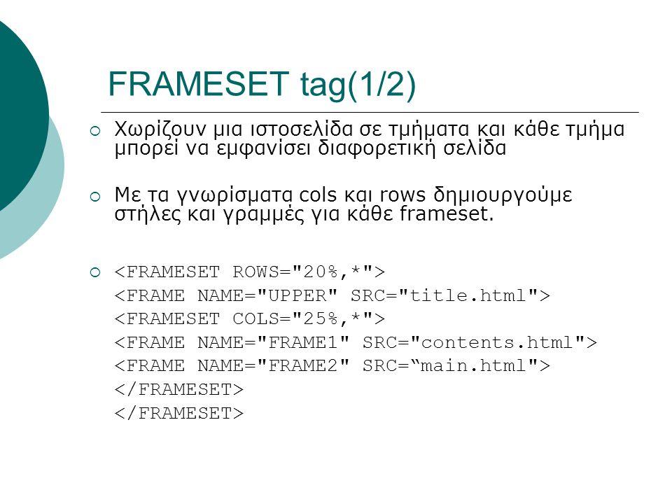 FRAMESET tag(1/2)  Χωρίζουν μια ιστοσελίδα σε τμήματα και κάθε τμήμα μπoρεί να εμφανίσει διαφορετική σελίδα  Με τα γνωρίσματα cols και rows δημιουργούμε στήλες και γραμμές για κάθε frameset.