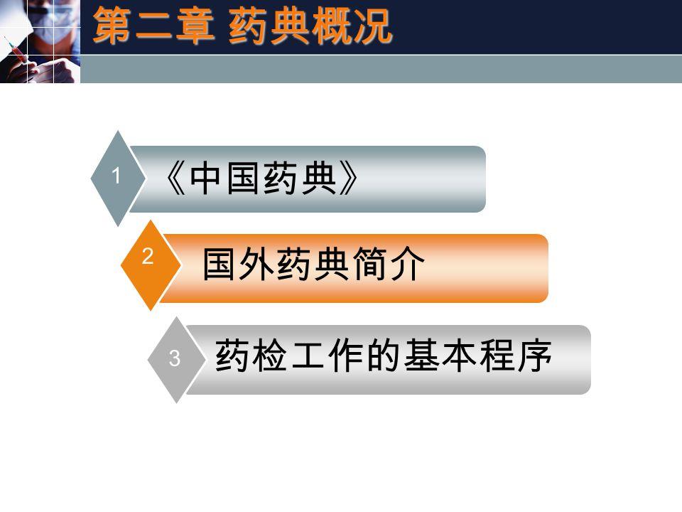 《中国药典》 1 国外药典简介 2 药检工作的基本程序 3 第二章 药典概况