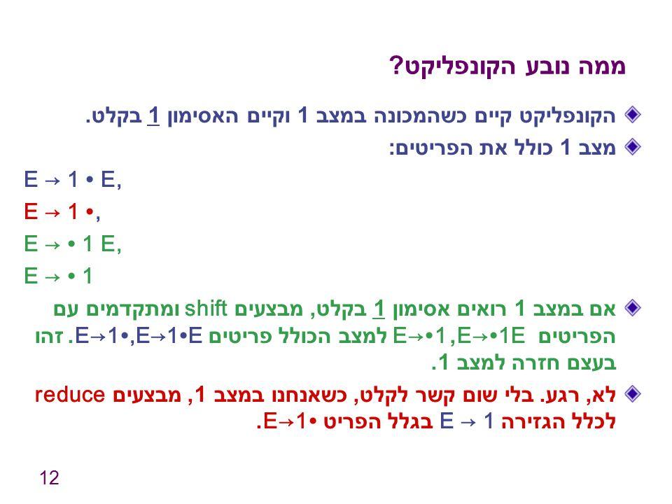 12 ממה נובע הקונפליקט ? הקונפליקט קיים כשהמכונה במצב 1 וקיים האסימון 1 בקלט. מצב 1 כולל את הפריטים : E → 1 ∙ E, E → 1 ∙, E → ∙ 1 E, E → ∙ 1 אם במצב 1