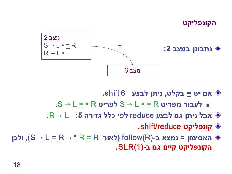18 הקונפליקט נתבונן במצב 2: אם יש = בקלט, ניתן לבצע shift 6. לעבור מפריט S → L ∙ = R לפריט S → L = ∙ R. אבל ניתן גם לבצע reduce לפי כלל גזירה 5: R → L