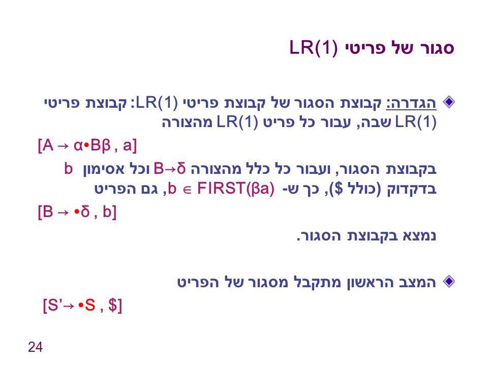 24 סגור של פריטי LR(1) הגדרה : קבוצת הסגור של קבוצת פריטי LR(1): קבוצת פריטי LR(1) שבה, עבור כל פריט LR(1) מהצורה [A → α∙Bβ, a] בקבוצת הסגור, ועבור כל