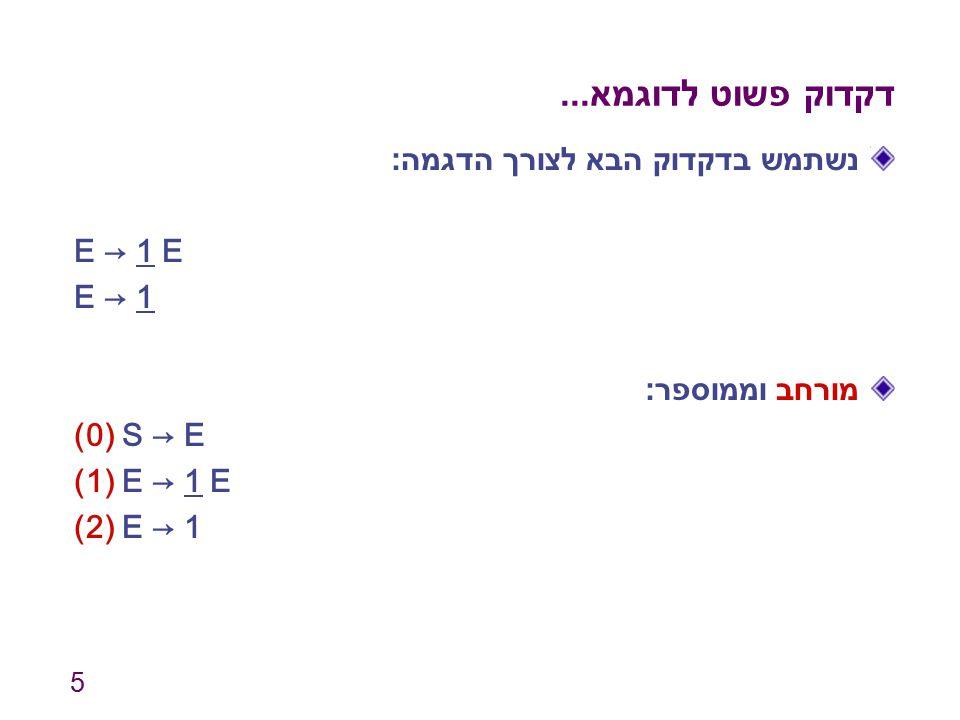 6 מכונת המצבים מצב 0 (התחלתי) clos({S → ∙ E}) = {S → ∙ E, E → ∙ 1 E, E → ∙ 1} מצב 1 clos({E → 1 ∙ E, E → 1 ∙}) = {E → 1 ∙ E, E → 1 ∙, E → ∙ 1 E, E → ∙ 1} 1 מצב 2 clos({S → E ∙}) = {S → E ∙} מצב 3 clos({E → 1 E ∙}) = {E → 1 E ∙} E E E$1 210 311 2 3 1 (0) S → E (1) E → 1 E (2) E → 1