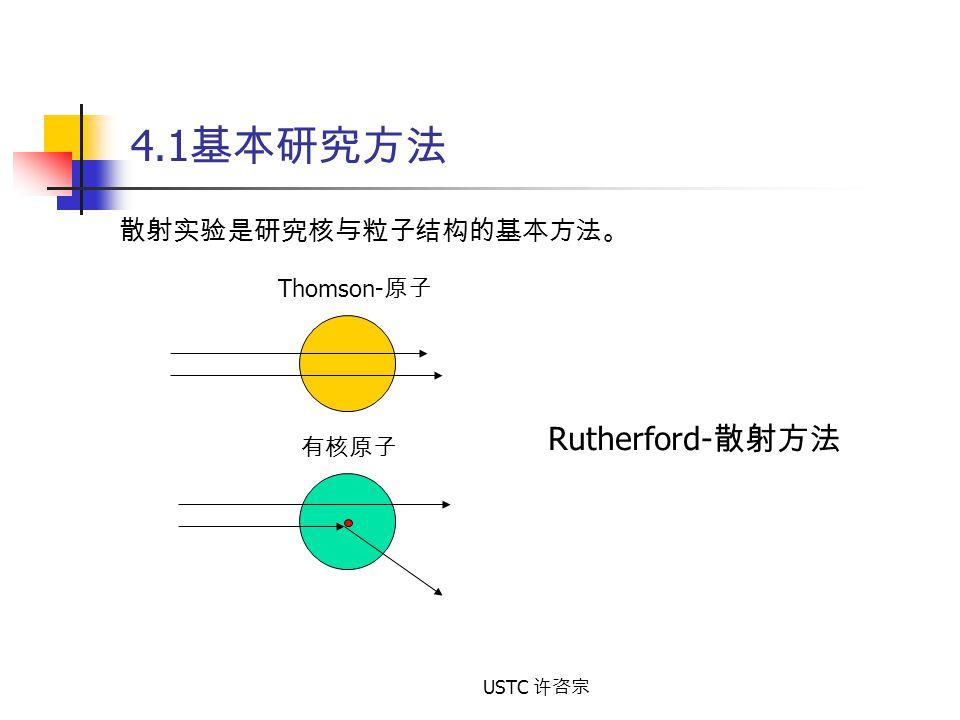 USTC 许咨宗 4.1 基本研究方法 散射实验是研究核与粒子结构的基本方法。 Rutherford- 散射方法 Thomson- 原子 有核原子