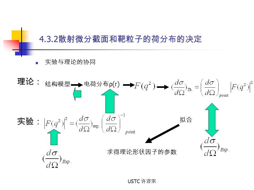 USTC 许咨宗 4.3.2 散射微分截面和靶粒子的荷分布的决定 实验与理论的协同 结构模型 电荷分布 ρ(r) 理论: 实验: 拟合 求得理论形状因子的参数