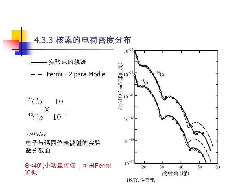 USTC 许咨宗 4.3.3 核素的电荷密度分布 电子与钙同位素散射的实验 微分截面 X 实验点的轨迹 Fermi - 2 para.Modle Θ<40 0, 小动量传递,可用 Fermi 近似