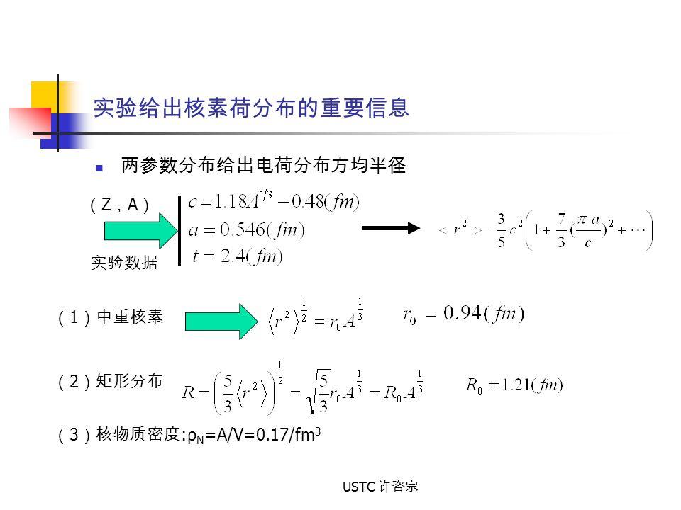 USTC 许咨宗 实验给出核素荷分布的重要信息 两参数分布给出电荷分布方均半径 (Z,A)(Z,A) 实验数据 ( 1 )中重核素 ( 2 )矩形分布 ( 3 )核物质密度 :ρ N =A/V=0.17/fm 3