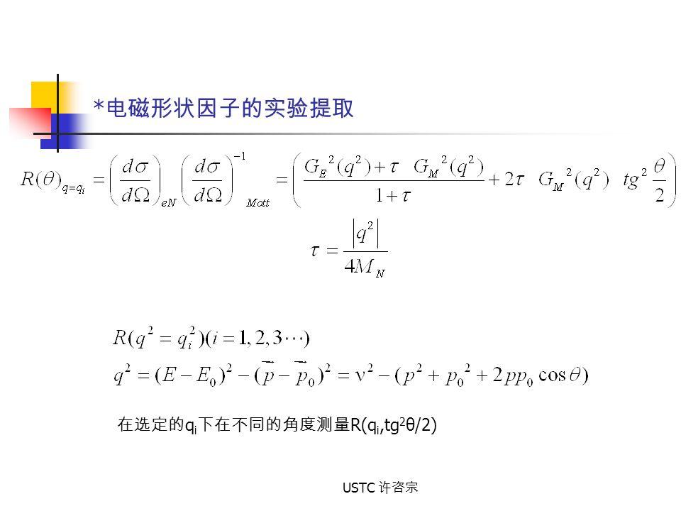 USTC 许咨宗 * 电磁形状因子的实验提取 在选定的 q i 下在不同的角度测量 R(q i,tg 2 θ/2)