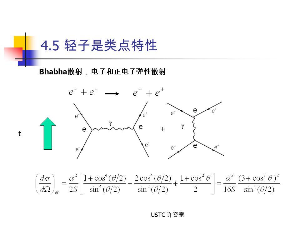 USTC 许咨宗 4.5 轻子是类点特性 Bhabha 散射,电子和正电子弹性散射 t e e e e +