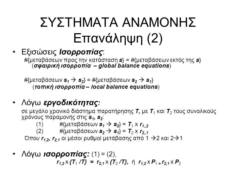 ΣΥΣΤΗΜΑΤΑ ΑΝΑΜΟΝΗΣ Επανάληψη (3) Η ουρά Μ/Μ/1 (άπειρου μεγέθους) Σταθεροί μέσοι ρυθμοί αφίξεων (γεννήσεων) λ n = λ, Poisson Σταθεροί μέσοι ρυθμοί εξυπηρέτησης (θανάτων) μ n = μ Εκθετικοί χρόνοι εξυπηρέτησης s, E(s) = 1/μ Εργοδικές πιθανότητες καταστάσεων P n Μέσος όρος πληθυσμού - κατάστασης Ε(n)