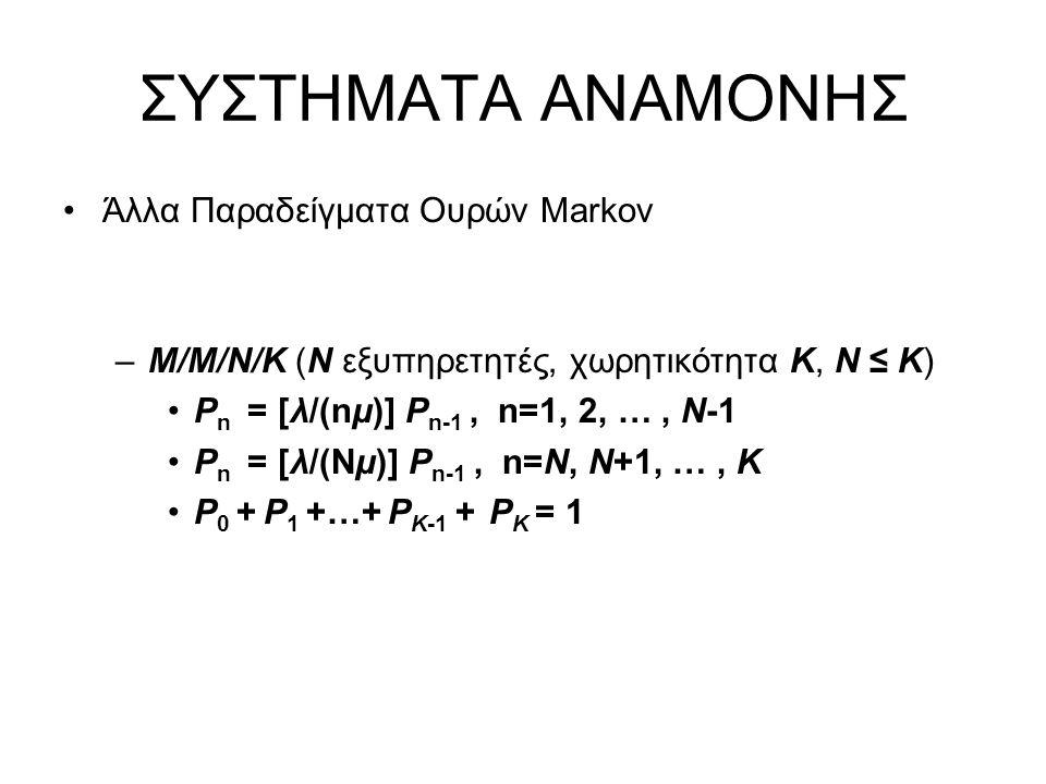 ΣΥΣΤΗΜΑΤΑ ΑΝΑΜΟΝΗΣ Άλλα Παραδείγματα Ουρών Markov –Μ/Μ/Ν/Κ (Ν εξυπηρετητές, χωρητικότητα Κ, N ≤ K) P n = [λ/(nμ)] P n-1, n=1, 2, …, N-1 P n = [λ/(Nμ)] P n-1, n=N, N+1, …, K P 0 + P 1 +…+ P K-1 + P K = 1