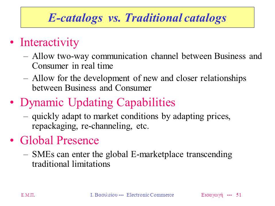 Ε.Μ.Π.Ι. Βασιλείου --- Electronic Commerce Εισαγωγή --- 51 E-catalogs vs.