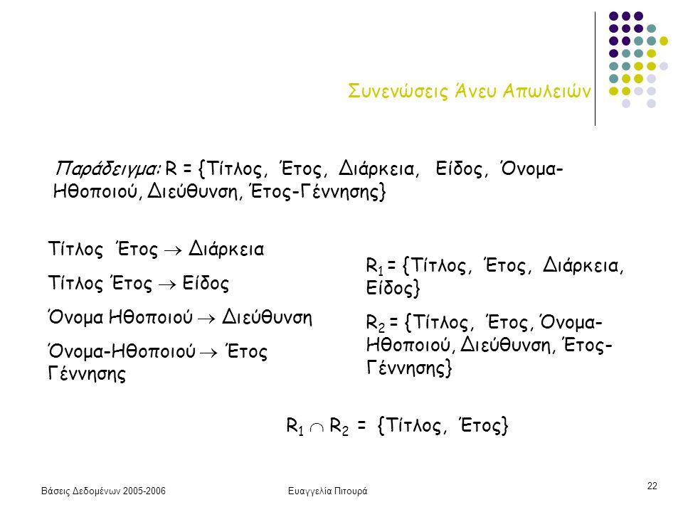 Βάσεις Δεδομένων 2005-2006Ευαγγελία Πιτουρά 22 Συνενώσεις Άνευ Απωλειών Παράδειγμα: R = {Τίτλος, Έτος, Διάρκεια, Είδος, Όνομα- Ηθοποιού, Διεύθυνση, Έτ