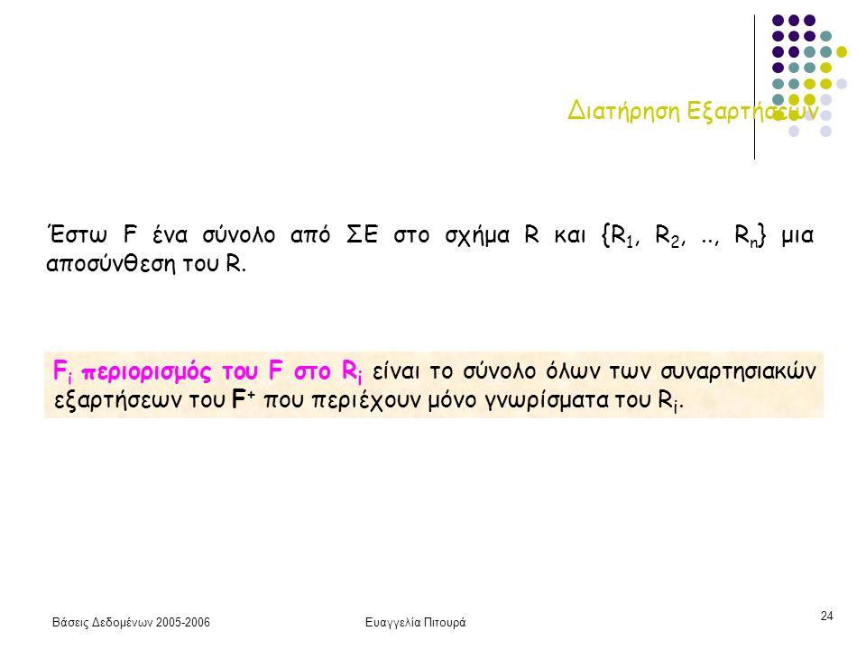 Βάσεις Δεδομένων 2005-2006Ευαγγελία Πιτουρά 24 Διατήρηση Εξαρτήσεων F i περιορισμός του F στο R i είναι το σύνολο όλων των συναρτησιακών εξαρτήσεων του F + που περιέχουν μόνο γνωρίσματα του R i.