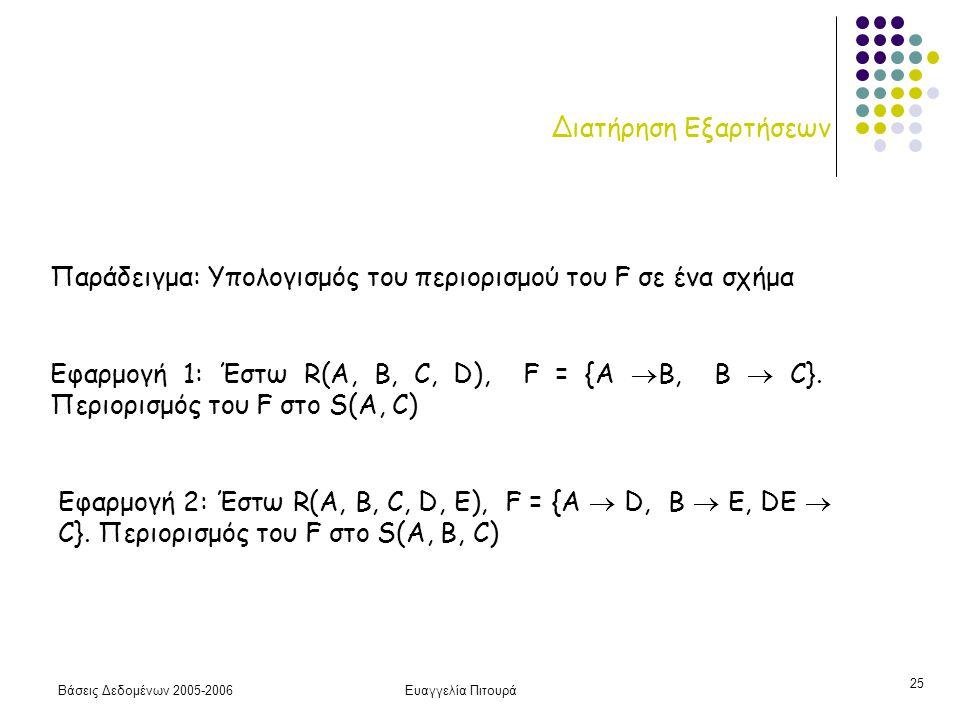 Βάσεις Δεδομένων 2005-2006Ευαγγελία Πιτουρά 25 Διατήρηση Εξαρτήσεων Παράδειγμα: Υπολογισμός του περιορισμού του F σε ένα σχήμα Εφαρμογή 1: Έστω R(A, B, C, D), F = {A  B, B  C}.