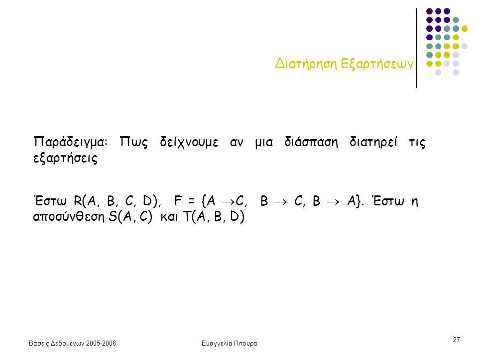 Βάσεις Δεδομένων 2005-2006Ευαγγελία Πιτουρά 27 Διατήρηση Εξαρτήσεων Παράδειγμα: Πως δείχνουμε αν μια διάσπαση διατηρεί τις εξαρτήσεις Έστω R(A, B, C, D), F = {A  C, B  C, Β  A}.