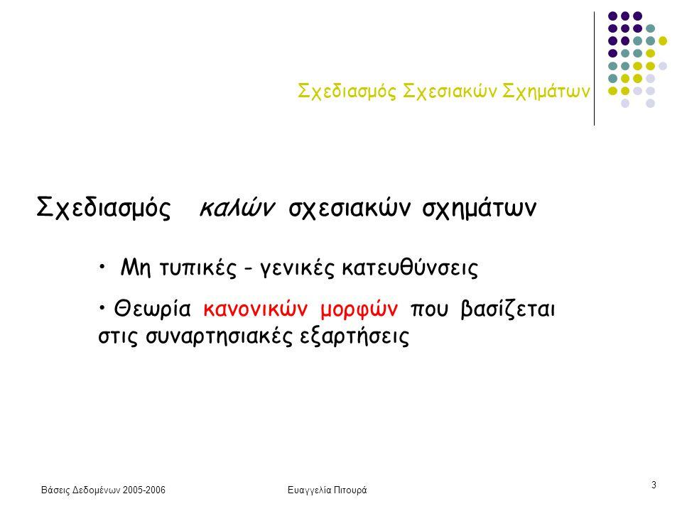 Βάσεις Δεδομένων 2005-2006Ευαγγελία Πιτουρά 3 Σχεδιασμός Σχεσιακών Σχημάτων Σχεδιασμός καλών σχεσιακών σχημάτων Μη τυπικές - γενικές κατευθύνσεις Θεωρία κανονικών μορφών που βασίζεται στις συναρτησιακές εξαρτήσεις