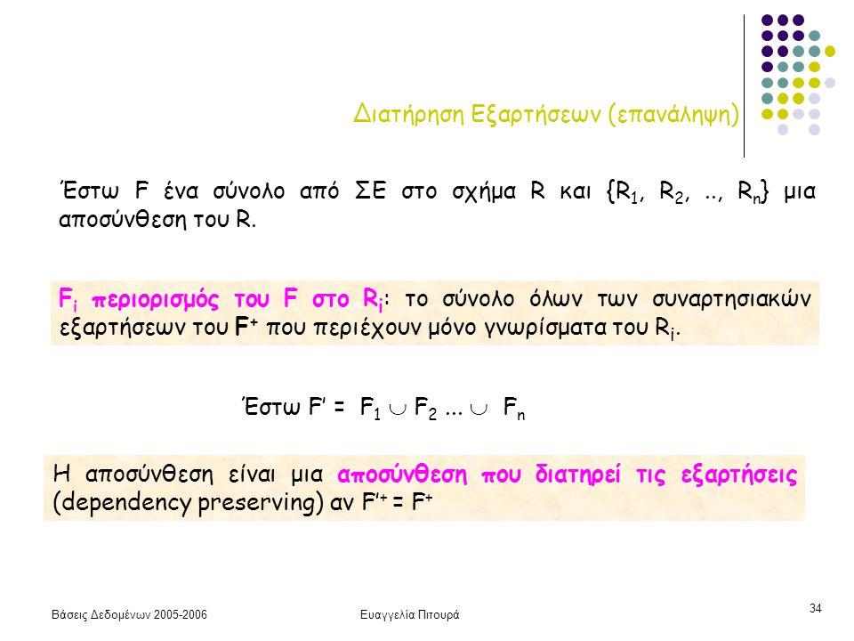 Βάσεις Δεδομένων 2005-2006Ευαγγελία Πιτουρά 34 Διατήρηση Εξαρτήσεων (επανάληψη) Η αποσύνθεση είναι μια αποσύνθεση που διατηρεί τις εξαρτήσεις (dependency preserving) αν F' + = F + Έστω F ένα σύνολο από ΣΕ στο σχήμα R και {R 1, R 2,.., R n } μια αποσύνθεση του R.