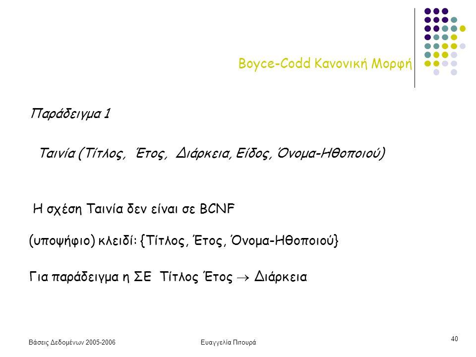 Βάσεις Δεδομένων 2005-2006Ευαγγελία Πιτουρά 40 Boyce-Codd Κανονική Μορφή Παράδειγμα 1 Ταινία (Τίτλος, Έτος, Διάρκεια, Είδος, Όνομα-Ηθοποιού) Η σχέση Τ