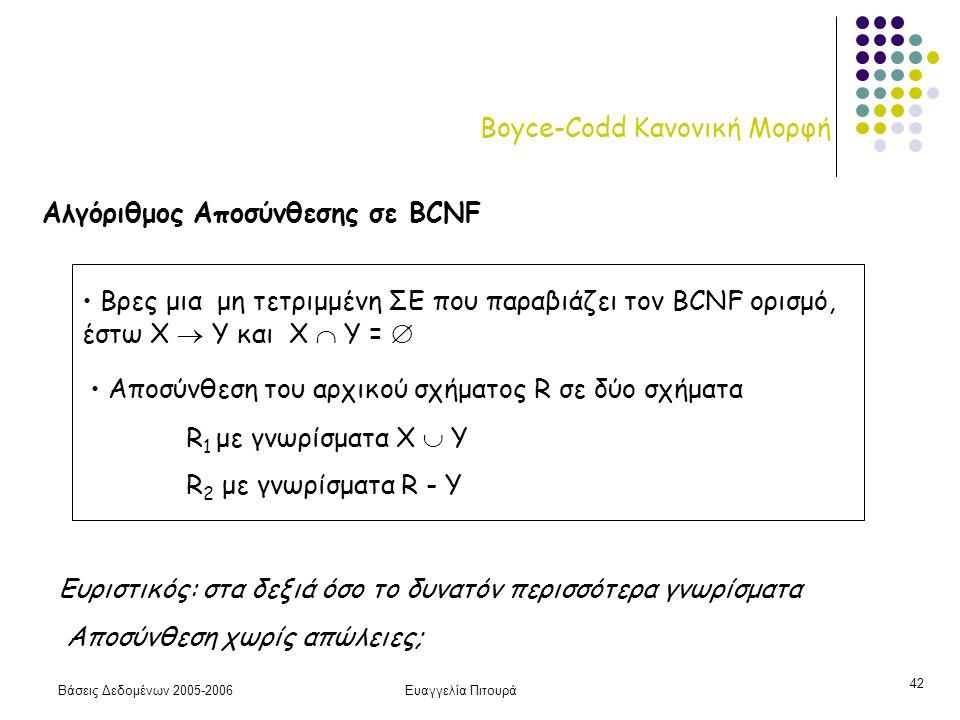 Βάσεις Δεδομένων 2005-2006Ευαγγελία Πιτουρά 42 Boyce-Codd Κανονική Μορφή Αλγόριθμος Αποσύνθεσης σε BCNF Βρες μια μη τετριμμένη ΣΕ που παραβιάζει τον BCNF ορισμό, έστω X  Y και Χ  Υ =  Αποσύνθεση του αρχικού σχήματος R σε δύο σχήματα R 1 με γνωρίσματα Χ  Y R 2 με γνωρίσματα R - Y Ευριστικός: στα δεξιά όσο το δυνατόν περισσότερα γνωρίσματα Αποσύνθεση χωρίς απώλειες;