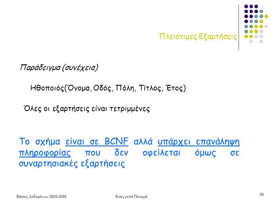 Βάσεις Δεδομένων 2005-2006Ευαγγελία Πιτουρά 59 Πλειότιμες Εξαρτήσεις Παράδειγμα (συνέχεια) Ηθοποιός(Όνομα, Οδός, Πόλη, Τίτλος, Έτος) Το σχήμα είναι σε BCNF αλλά υπάρχει επανάληψη πληροφορίας που δεν οφείλεται όμως σε συναρτησιακές εξαρτήσεις Όλες οι εξαρτήσεις είναι τετριμμένες