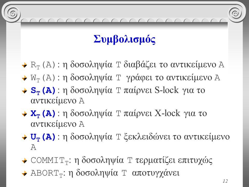 12 Συμβολισμός R Τ (A) : η δοσοληψία T διαβάζει το αντικείμενο Α W Τ (A) : η δοσοληψία T γράφει το αντικείμενο Α S Τ (A) : η δοσοληψία T παίρνει S-lock για το αντικείμενο Α Χ Τ (A) : η δοσοληψία T παίρνει Χ-lock για το αντικείμενο Α U Τ (A) : η δοσοληψία T ξεκλειδώνει το αντικείμενο Α COMMIT T : η δοσοληψία T τερματίζει επιτυχώς ABORT T : η δοσοληψία T αποτυγχάνει