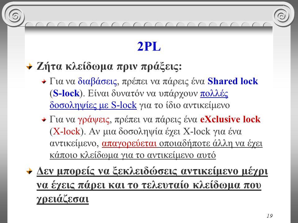 19 2PL Ζήτα κλείδωμα πριν πράξεις: Για να διαβάσεις, πρέπει να πάρεις ένα Shared lock (S-lock).