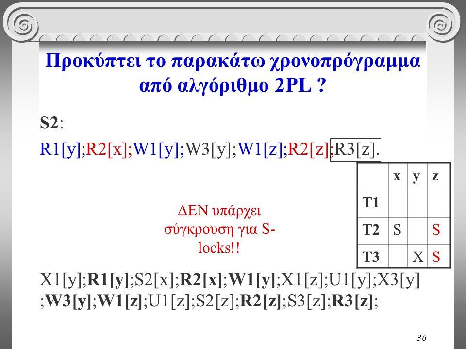 36 Προκύπτει το παρακάτω χρονοπρόγραμμα από αλγόριθμο 2PL .