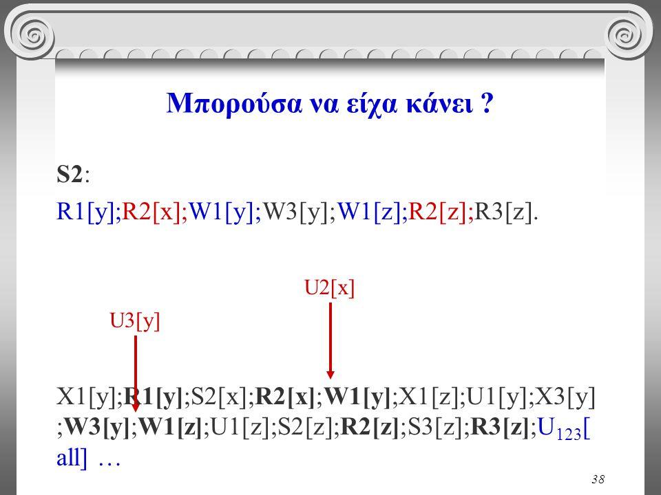 38 Μπορούσα να είχα κάνει . S2: R1[y];R2[x];W1[y];W3[y];W1[z];R2[z];R3[z].