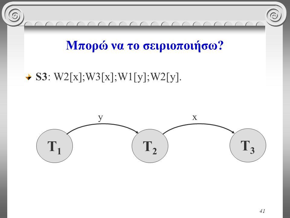 41 Μπορώ να το σειριοποιήσω? S3: W2[x];W3[x];W1[y];W2[y]. T1T1 T2T2 x T3T3 y