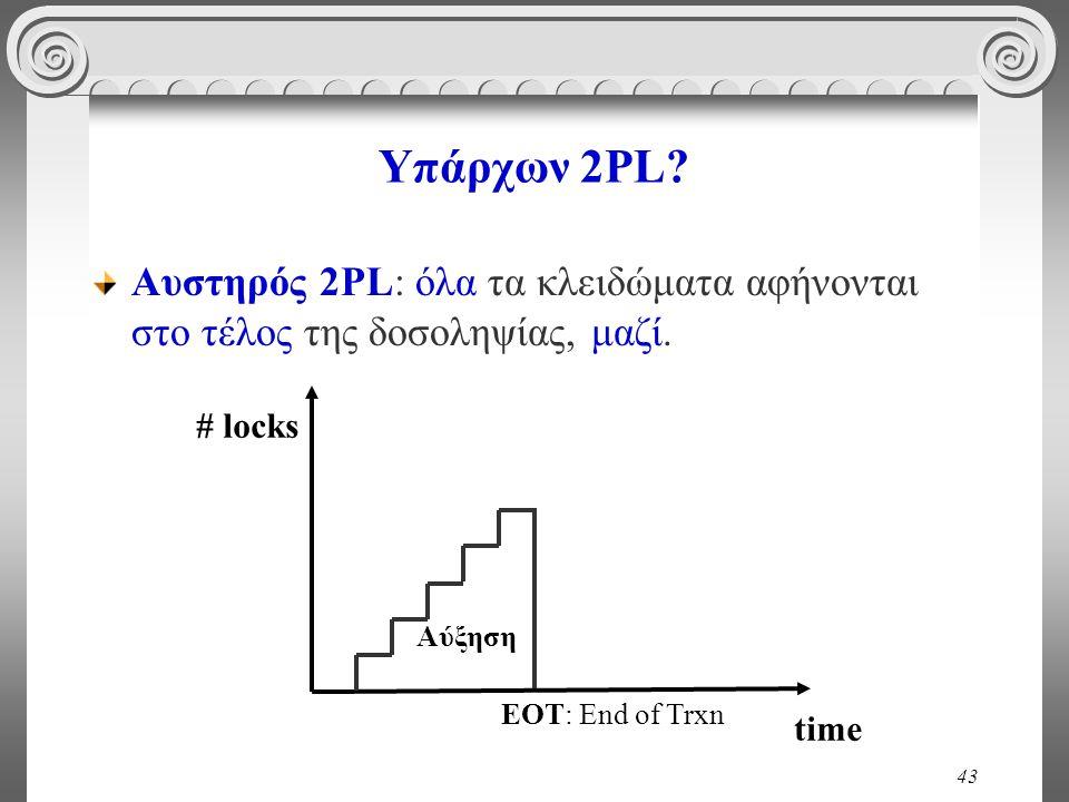 43 Υπάρχων 2PL. Αυστηρός 2PL: όλα τα κλειδώματα αφήνονται στο τέλος της δοσοληψίας, μαζί.
