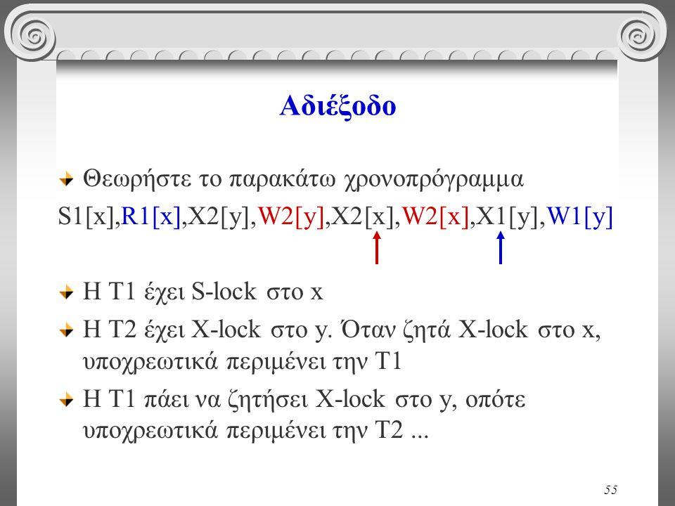 55 Αδιέξοδο Θεωρήστε το παρακάτω χρονοπρόγραμμα S1[x],R1[x],X2[y],W2[y],X2[x],W2[x],X1[y],W1[y] H T1 έχει S-lock στο x H T2 έχει X-lock στο y.