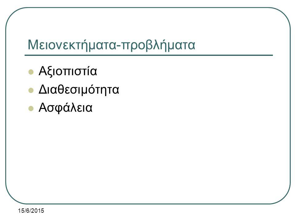 15/6/2015 Μειονεκτήματα-προβλήματα Αξιοπιστία Διαθεσιμότητα Ασφάλεια