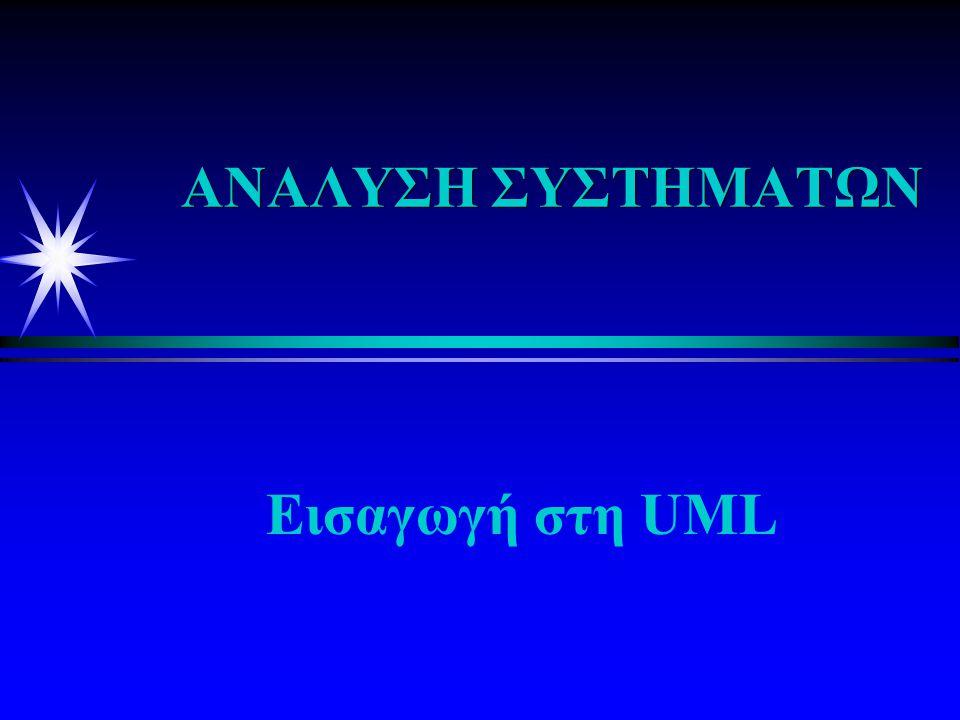 ΤΜΗΜΑΤΑ ΤΟΥ UML είναι τα γραφικά Διαγράμματα: είναι τα γραφικά που περιγράφουν τα περιεχόμενα μιας όψης Στοιχεία μοντέλου:Αυτά περιλαμβάνουν τις κλάσεις,τα αντικείμενα και τις σχέσεις τους Oψεις(Views) :δείχνουν απόψεις του συστήματος που μοντελοποιούνται