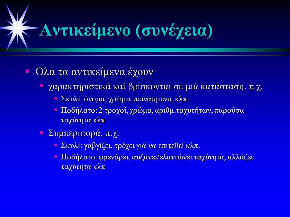 Παράδειγμα Αντικειμένου: ΠΟΔΗΛΑΤΟ ΑλλαξεΤαχύτητα Φρέναρε Ξεκίνα Λεπτομέρειες Υλοποίησης των λειτουργιών