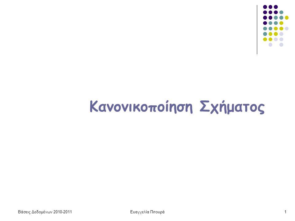 Βάσεις Δεδομένων 2010-2011Ευαγγελία Πιτουρά1 Κανονικοποίηση Σχήματος