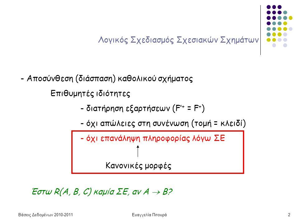 Βάσεις Δεδομένων 2010-2011Ευαγγελία Πιτουρά2 Λογικός Σχεδιασμός Σχεσιακών Σχημάτων - Αποσύνθεση (διάσπαση) καθολικού σχήματος Επιθυμητές ιδιότητες - διατήρηση εξαρτήσεων (F' + = F + ) - όχι απώλειες στη συνένωση (τομή = κλειδί) - όχι επανάληψη πληροφορίας λόγω ΣΕ Κανονικές μορφές Έστω R(A, B, C) καμία ΣΕ, αν A  B?