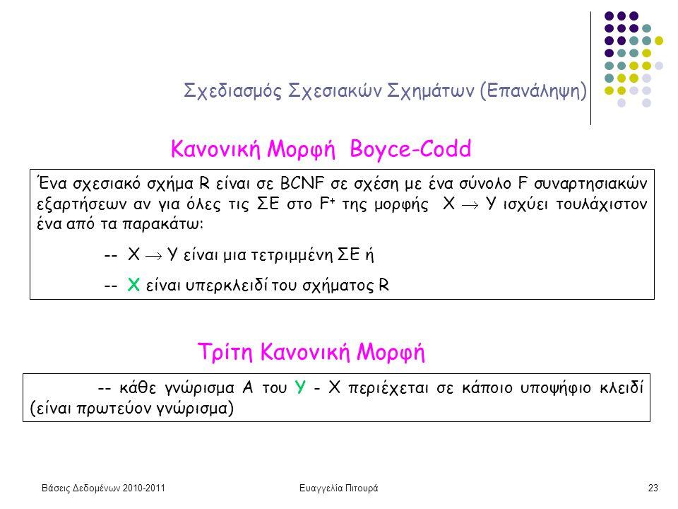 Βάσεις Δεδομένων 2010-2011Ευαγγελία Πιτουρά23 Σχεδιασμός Σχεσιακών Σχημάτων (Επανάληψη) Κανονική Μορφή Boyce-Codd Ένα σχεσιακό σχήμα R είναι σε BCNF σε σχέση με ένα σύνολο F συναρτησιακών εξαρτήσεων αν για όλες τις ΣΕ στο F + της μορφής X  Y ισχύει τουλάχιστον ένα από τα παρακάτω: -- X  Y είναι μια τετριμμένη ΣΕ ή -- X είναι υπερκλειδί του σχήματος R Τρίτη Κανονική Μορφή -- κάθε γνώρισμα Α του Υ - Χ περιέχεται σε κάποιο υποψήφιο κλειδί (είναι πρωτεύον γνώρισμα)