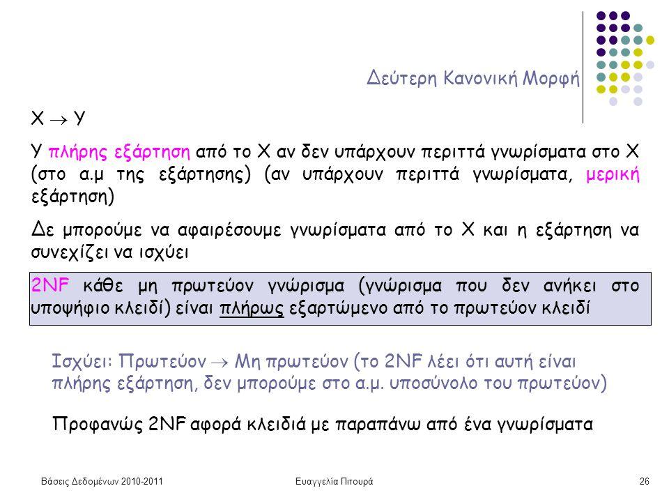 Βάσεις Δεδομένων 2010-2011Ευαγγελία Πιτουρά26 Δεύτερη Κανονική Μορφή X  Y Υ πλήρης εξάρτηση από το Χ αν δεν υπάρχουν περιττά γνωρίσματα στο X (στο α.μ της εξάρτησης) (αν υπάρχουν περιττά γνωρίσματα, μερική εξάρτηση) Δε μπορούμε να αφαιρέσουμε γνωρίσματα από το Χ και η εξάρτηση να συνεχίζει να ισχύει 2NF κάθε μη πρωτεύον γνώρισμα (γνώρισμα που δεν ανήκει στο υποψήφιο κλειδί) είναι πλήρως εξαρτώμενο από το πρωτεύον κλειδί Προφανώς 2NF αφορά κλειδιά με παραπάνω από ένα γνωρίσματα Ισχύει: Πρωτεύον  Μη πρωτεύον (το 2NF λέει ότι αυτή είναι πλήρης εξάρτηση, δεν μπορούμε στο α.μ.