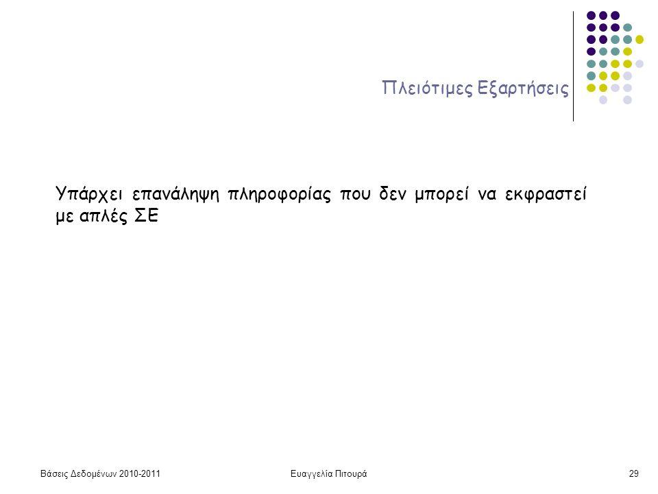 Βάσεις Δεδομένων 2010-2011Ευαγγελία Πιτουρά29 Πλειότιμες Εξαρτήσεις Υπάρχει επανάληψη πληροφορίας που δεν μπορεί να εκφραστεί με απλές ΣΕ