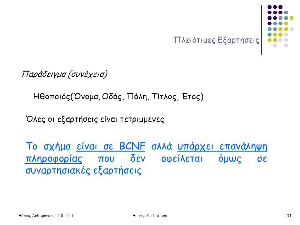 Βάσεις Δεδομένων 2010-2011Ευαγγελία Πιτουρά31 Πλειότιμες Εξαρτήσεις Παράδειγμα (συνέχεια) Ηθοποιός(Όνομα, Οδός, Πόλη, Τίτλος, Έτος) Το σχήμα είναι σε BCNF αλλά υπάρχει επανάληψη πληροφορίας που δεν οφείλεται όμως σε συναρτησιακές εξαρτήσεις Όλες οι εξαρτήσεις είναι τετριμμένες