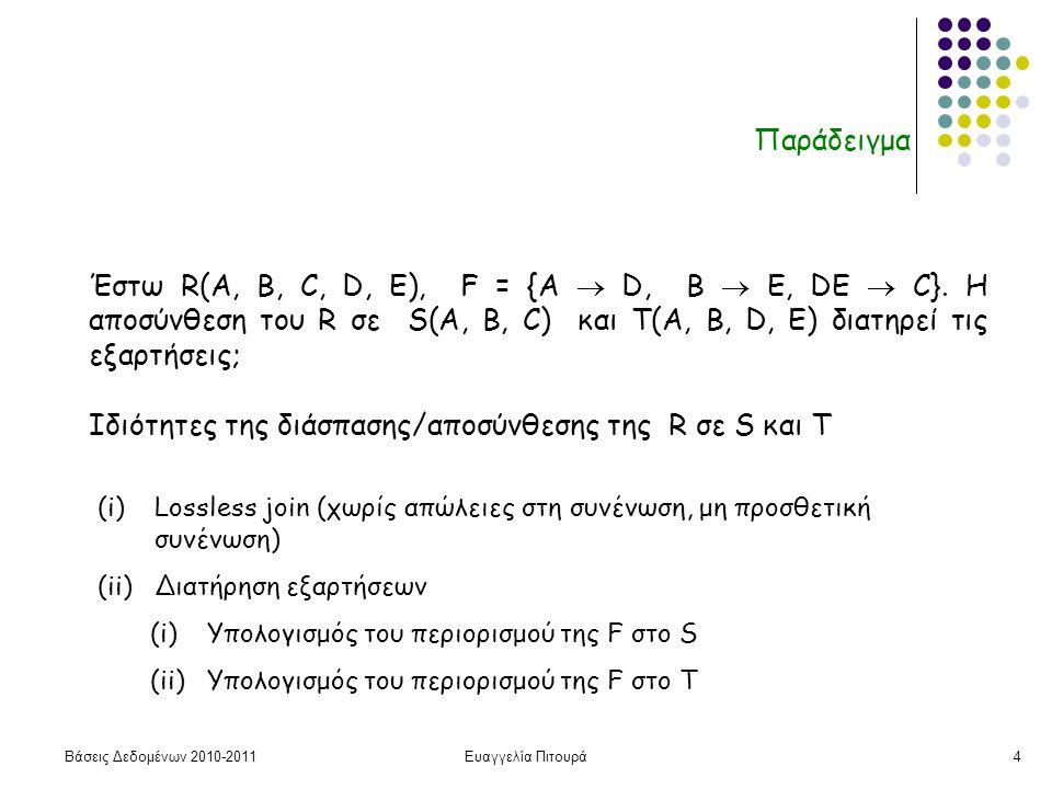 Βάσεις Δεδομένων 2010-2011Ευαγγελία Πιτουρά4 Παράδειγμα Έστω R(A, B, C, D, E), F = {A  D, B  Ε, DE  C}.