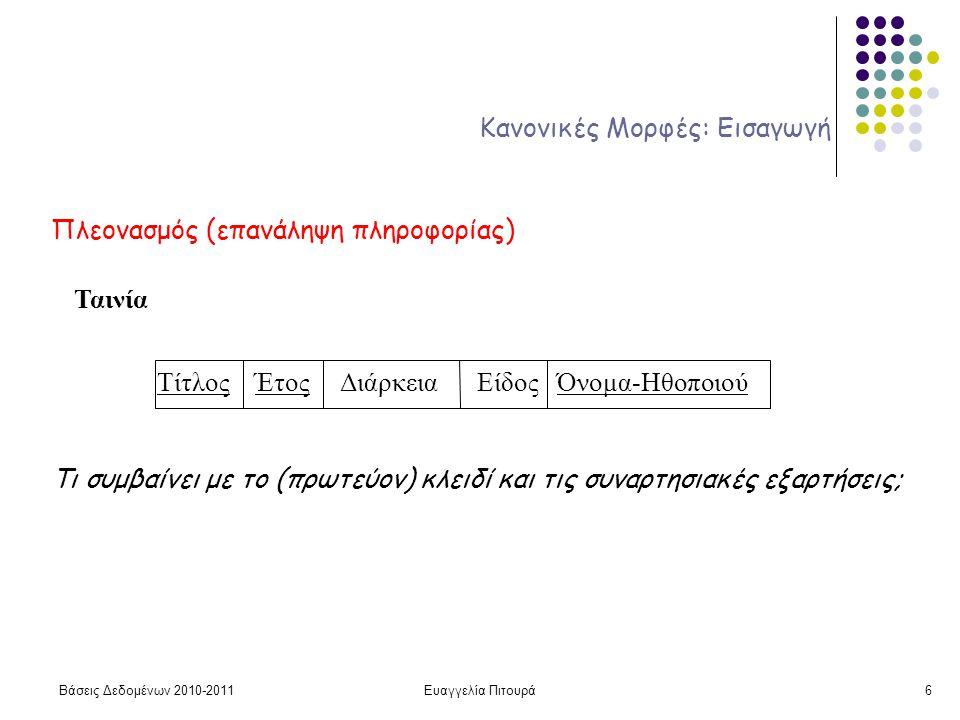Βάσεις Δεδομένων 2010-2011Ευαγγελία Πιτουρά6 Κανονικές Μορφές: Εισαγωγή Πλεονασμός (επανάληψη πληροφορίας) Ταινία Τίτλος Έτος Διάρκεια Είδος Όνομα-Ηθοποιού Τι συμβαίνει με το (πρωτεύον) κλειδί και τις συναρτησιακές εξαρτήσεις;
