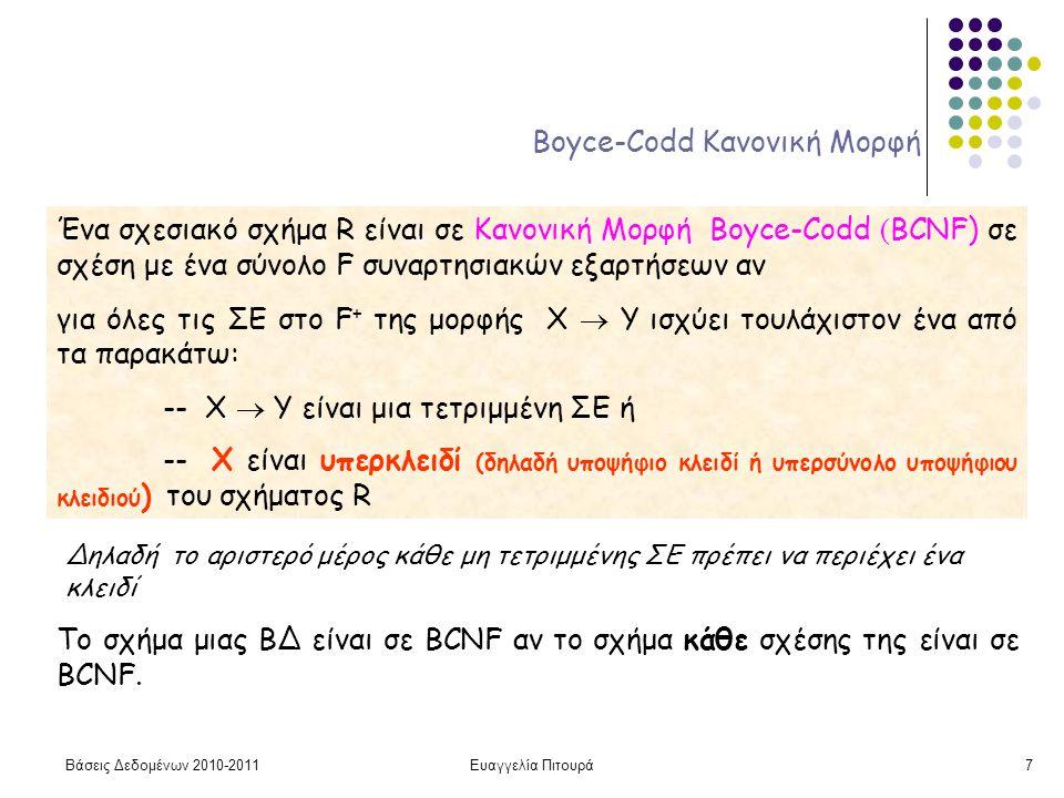 Βάσεις Δεδομένων 2010-2011Ευαγγελία Πιτουρά7 Boyce-Codd Κανονική Μορφή Ένα σχεσιακό σχήμα R είναι σε Κανονική Μορφή Boyce-Codd ( BCNF) σε σχέση με ένα σύνολο F συναρτησιακών εξαρτήσεων αν για όλες τις ΣΕ στο F + της μορφής X  Y ισχύει τουλάχιστον ένα από τα παρακάτω: -- X  Y είναι μια τετριμμένη ΣΕ ή -- X είναι υπερκλειδί (δηλαδή υποψήφιο κλειδί ή υπερσύνολο υποψήφιου κλειδιού ) του σχήματος R Δηλαδή το αριστερό μέρος κάθε μη τετριμμένης ΣΕ πρέπει να περιέχει ένα κλειδί Το σχήμα μιας ΒΔ είναι σε BCNF αν το σχήμα κάθε σχέσης της είναι σε BCNF.
