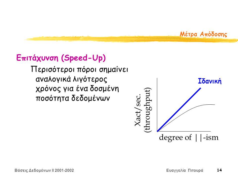 Βάσεις Δεδομένων II 2001-2002 Ευαγγελία Πιτουρά 14 Μέτρα Απόδοσης Επιτάχυνση (Speed-Up) Περισότεροι πόροι σημαίνει αναλογικά λιγότερος χρόνος για ένα δοσμένη ποσότητα δεδομένων degree of ||-ism Xact/sec.