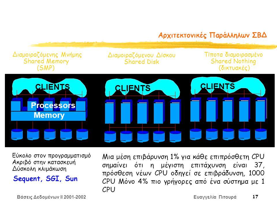 Βάσεις Δεδομένων II 2001-2002 Ευαγγελία Πιτουρά 17 Αρχιτεκτονικές Παράλληλων ΣΒΔ Διαμοιραζόμενης Μνήμης Shared Memory (SMP) Διαμοιραζόμενου Δίσκου Shared Disk Τίποτα διαμοιρασμένο Shared Nothing (δικτυακές) CLIENTS Memory Processors Εύκολο στον προγραμματισμό Ακριβό στην κατασκευή Δύσκολη κλιμάκωση Sequent, SGI, Sun Μια μέση επιβάρυνση 1% για κάθε επιπρόσθετη CPU σημαίνει ότι η μέγιστη επιτάχυνση είναι 37, πρόσθεση νέων CPU οδηγεί σε επιβράδυνση, 1000 CPU Μόνο 4% πιο γρήγορες από ένα σύστημα με 1 CPU