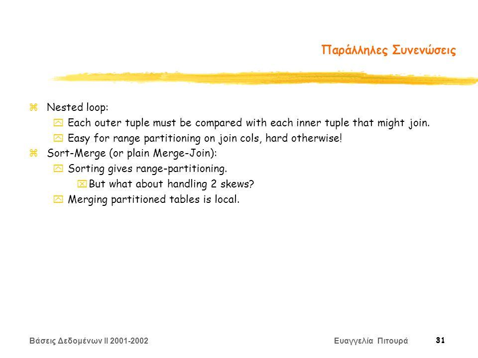 Βάσεις Δεδομένων II 2001-2002 Ευαγγελία Πιτουρά 31 Παράλληλες Συνενώσεις zNested loop: yEach outer tuple must be compared with each inner tuple that might join.