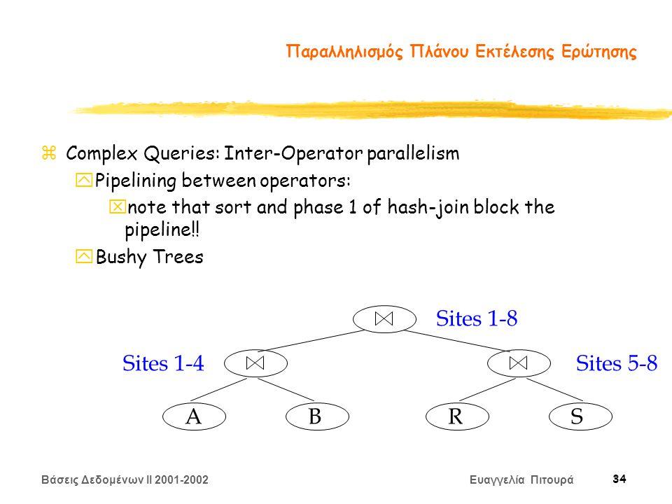 Βάσεις Δεδομένων II 2001-2002 Ευαγγελία Πιτουρά 34 Παραλληλισμός Πλάνου Εκτέλεσης Ερώτησης zComplex Queries: Inter-Operator parallelism yPipelining between operators: xnote that sort and phase 1 of hash-join block the pipeline!.