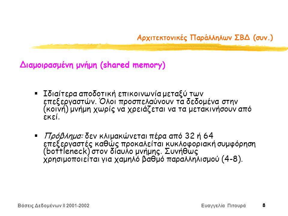 Βάσεις Δεδομένων II 2001-2002 Ευαγγελία Πιτουρά 9 Αρχιτεκτονικές Παράλληλων ΣΒΔ (συν.) Διαμοιρασμένο σύστημα δίσκων (shared disk)  Ο δίαυλος μνήμης δεν είναι πια πρόβλημα αλλά τώρα η κυκλοφοριακή συμφόρηση συμβαίνει στη σύνδεση με το σύστημα δίσκων  Ανοχή σφαλμάτων (fault-tolerance).