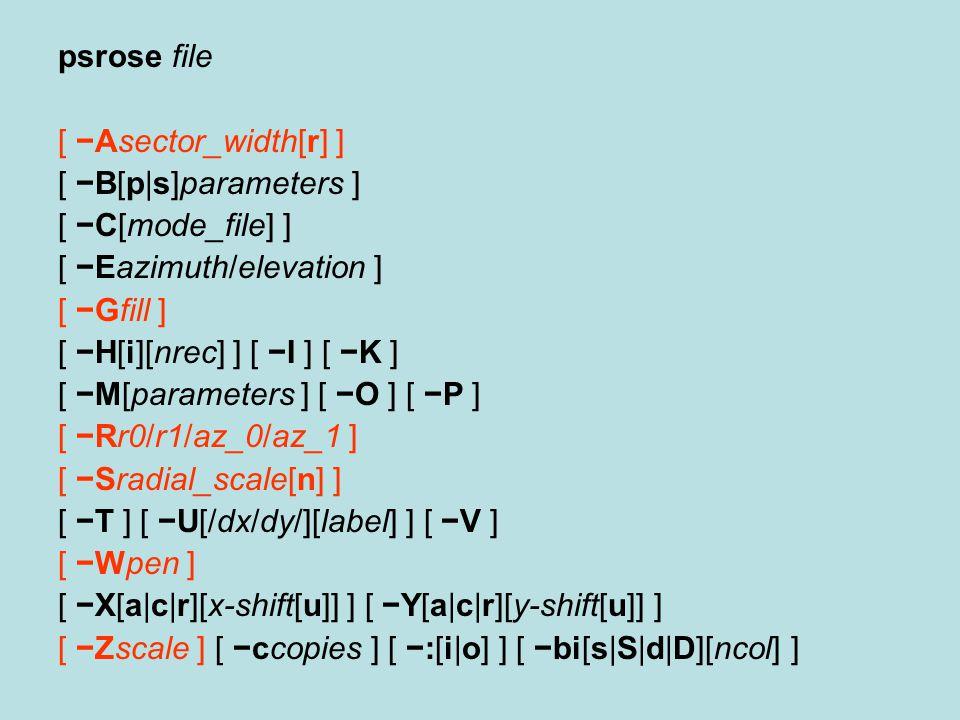 psrose file [ −Asector_width[r] ] [ −B[p|s]parameters ] [ −C[mode_file] ] [ −Eazimuth/elevation ] [ −Gfill ] [ −H[i][nrec] ] [ −I ] [ −K ] [ −M[parame