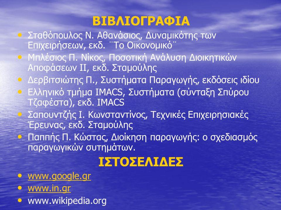 ΒΙΒΛΙΟΓΡΑΦΙΑ Σταθόπουλος Ν. Αθανάσιος, Δυναμικότης των Επιχειρήσεων, εκδ.
